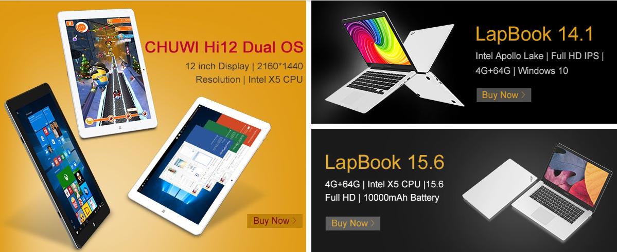 2f3230219845a4 I tablet e i convertibili Chuwi protagonisti di una nuova promozione di  Gearbest