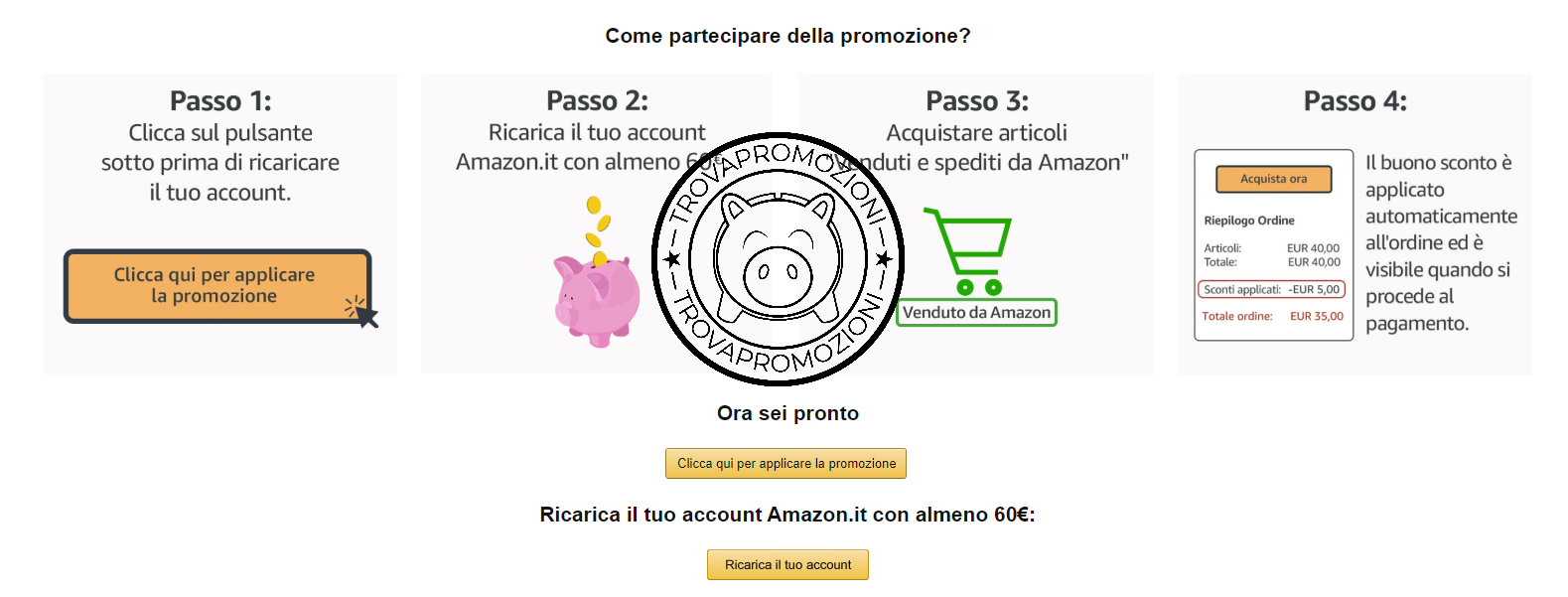 08152ddafc Ricarica il tuo account Amazon con 60€ e ricevi un buono sconto di 5 ...